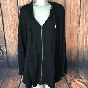 XCVI Black zip front jacket hoodie